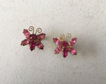 Juliana D&E Pink Rhinestone Butterfly  Earrings 1047
