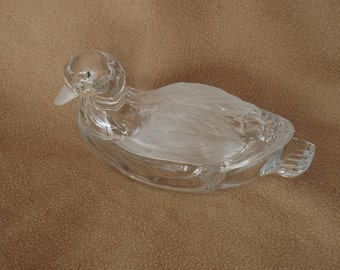 Vintage Glass Serving Dish; Vintage Glass Candy Dish; Duck Candy Dish