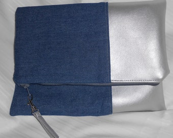 Denim with Silver Faux Leather Fold Over Clutch Bag - Lined.