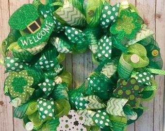 St. Patrick's Day wreath, St Patricks day wreath, St. Patrick's Day decor, St Patrick's Day front door wreath, Shamrock wreath, Irish wreath