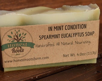 Spearmint Eucalyptus Soap - Mint Soap - All Natural Soap - Essential Oil Soap - 4.0 oz Bar Soap -