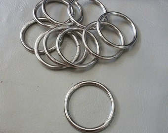 "10 Pcs, 1.25"" (3.2 cm./32 mm.) (Inner) Metal O Ring, Non Welded Nickel, Webbing Strap, Handbag Hardware, Belt Hardware, Bags Accessories"