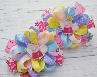 Peppa pig birthday gifts for her Peppa pig hair bows Peppa bow Peppa pig party favors for kids Headband baby Girl head bands For babies
