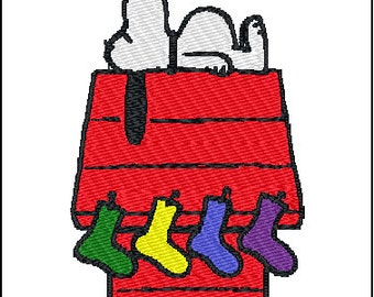 Snoopy Christmas Embroidery Design 4x4 and 5x7
