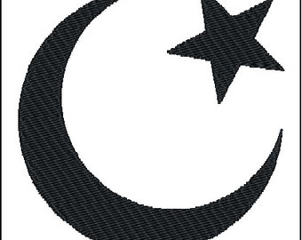 Islam Crescent Moon and Star Symbol Embroidery Design