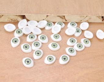 Free Shipping!!10pair Doll Eyes Plastic Eyes Craft Eyes Flat Back,green eye,eye wholesale,doll supplies,eyes supplies --10x14mm