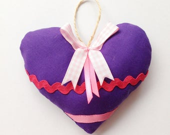 Shabby chic purple hanging heart, perfect for colourful nursery decor, wedding favour
