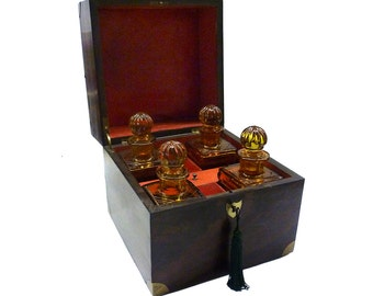 English Mahogany Decanter Box With Amber Cut Crystal