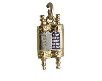 14K Gold Enamel Torah Judaica Charm