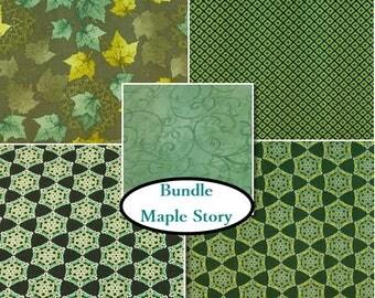 5 prints, Maple Stories, by Sasha K Studio, Ebi Fabrics, Bundle,  1 of each print