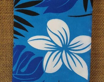 Handmade fabric covered journal, Hawaiian tropical leaves, plumeria, Monstera leaf, 4.5 in by 6.5 in.