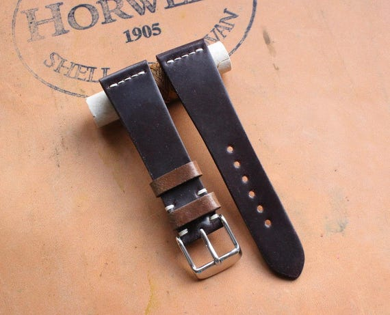 20/16mm Colour #8 Horween Shell Cordovan watch band - simple middle stitch