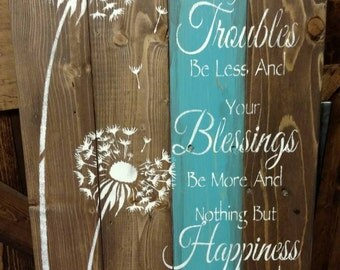 Dandelion reclaimed wood sign. Entryway sign.