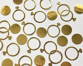 150 Gold Engagement Ring and circle Confetti Pieces. Weddings, engagement party