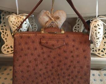 1940s deco brown ostrich bag