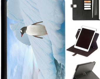 P-PEN02-ONICE Luxury Apple ipad 360 swivel i pad leather case cover with card slots penguin