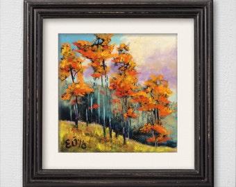 """Original Pastel Painting """"Autumn Trees"""""""