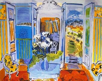Raoul Dufy, interpretation lithograph, Sea view, Promenade des Anglais, French Riviera, Nice, France,  glamour, winsome, Free shipping,