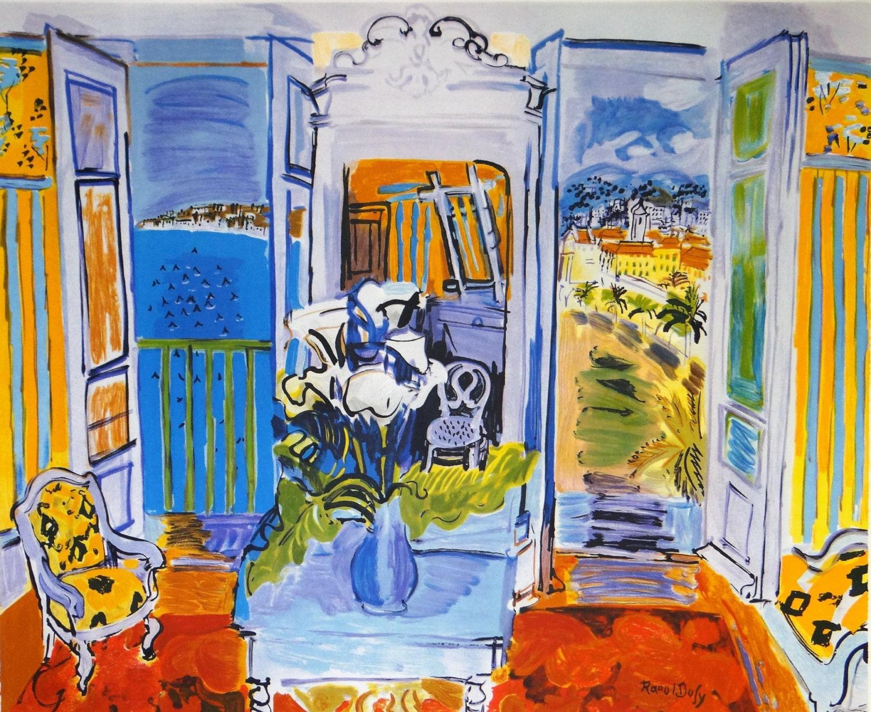 Raoul dufy interpretation lithograph sea view promenade des - Fenetre baie window ...