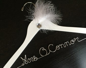 Wedding dress hanger, personalized name hanger, mrs hanger, vintage wedding, great gatsby wedding