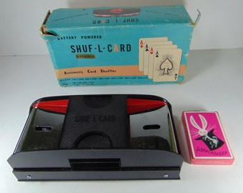 REDUCED - Shuf-L-Card Automatic Card Shuffler, Battery Operated - With Original Box and Deck of Cards