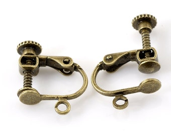 10 Pair Screw Back Clips Earring Findings Antique Bronze, Ear Bobs, 1657, 907a