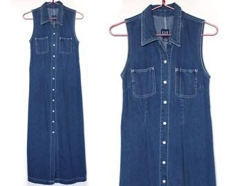 90s Gap Denim Dress Button Down Dress Sleeveless Dress Long Dress Hippie Dress Boho Dress Hipster Dress Grunge Dress Blue Dress