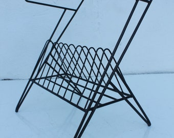Vintage Black Metal Painting And Glass Top Side  Table Magazine Rack.