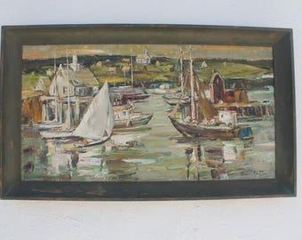 Charles Gordon Marston  Listed Artist Acrylic On Canvas Boats  Harbor Painting.
