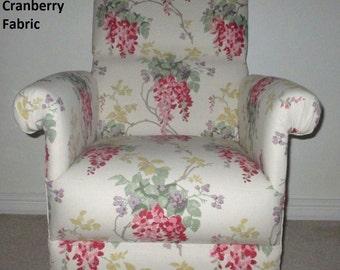 Laura Ashley Heligan Linen Floral Fabric Adult Chair Armchair