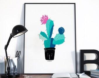 Cactus. Lámina de decoración. Decorar casa. Dibujo. Impresión suculenta, cactus Poster, Ilustración de Cactus, plantas suculentas, cartel