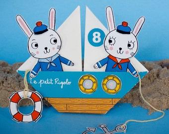 Printable Sailor Bunnies | PDF download | Kids Craft, Sailors,Bunnies,Nautical, Origami, paper craft, cut outs, party games,