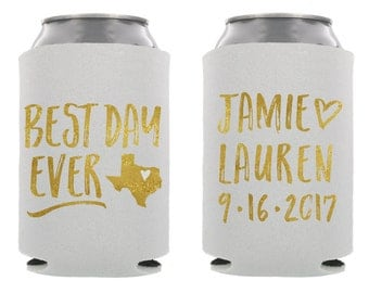 Best Day Ever Wedding Can Cooler, Personalized Wedding Beer Hugger, Rehersal Dinner, Can Cooler, Wedding Favor, Your City and State!