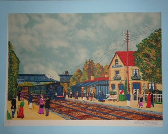 FRANCE - Station in the French countryside - HERMEL Michel - lithograph artist test