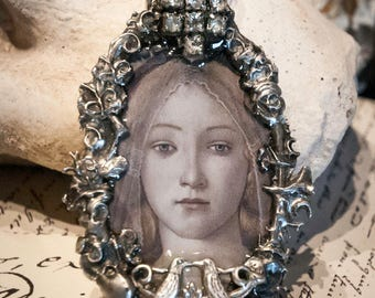 Romantic Handmade Jewelry Pendant with Vintage Rhinestones and Silverplated Detail