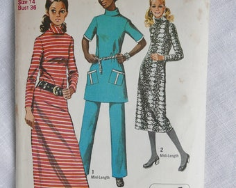 Vintage dress and pants pattern, Simplicity 8977, size bust 36 inches, 1970