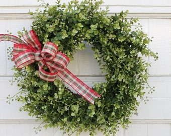 Christmas Wreath, Boxwood Wreath, Holiday Wreath, Outdoor Wreath, Greenery Wreath, Traditional Christmas Wreath, Boxwood Christmas Wreath