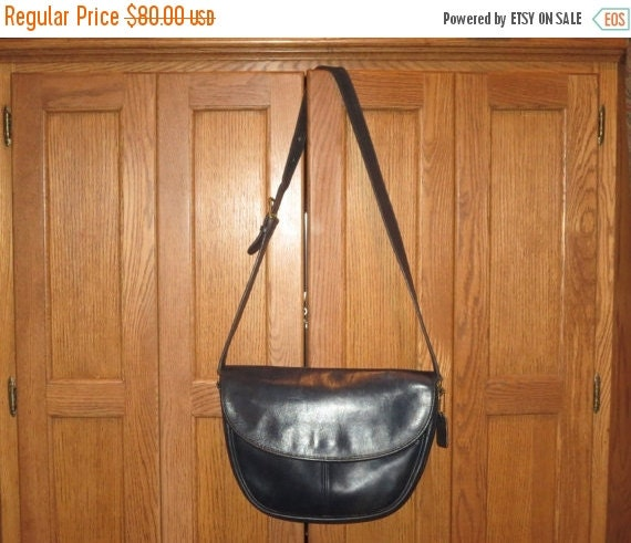 Football Days Sale Coach Paris Bag in Navy Blue Leather- Large And Elegant- Rare Style No 4105- Made In U.S.A.