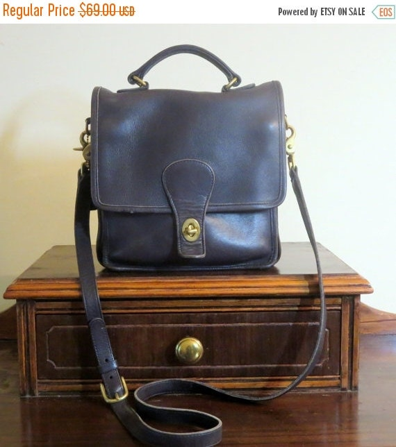 Football Days Sale Coach Station Bag Navy Leather Style No 5130 - U.S.A. Made -Very Good Condition Unisex Bag
