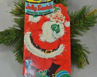 Vintage Whitman Jolly Santa's Sticker Pictures Book Illustrated by Jason Lee Unused