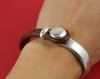9/8 MADE in EUROPE zamak button half bracelet+ separator, silver half bracelet, zamak half cuff, metal half bracelet (Ablz114S) Qty1