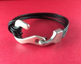 3/9 MADE in EUROPE zamak hook clasp, bracelet clasp, silver hook clasp, flat cord hook clasp (76995/13) Qty1