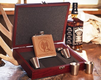 """Rosewood Box +Funnel +Shots - Fun Christmas Gift """"Emergency Water"""", Personalized Leather Flask, Laser Engraved for Friends & Family,Birthday"""