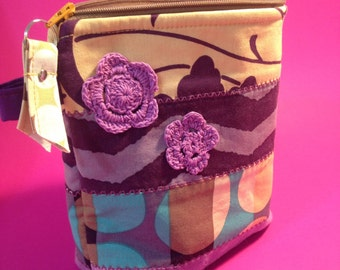 Quilted Zipper Make Up Stash Bag