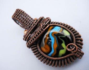 Oxidized copper woven wire pendant with lampwork glass multi color black bead