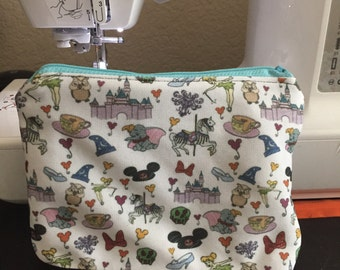 Zipper pouch makeup bag--Everything u luv about the happiest place on earth