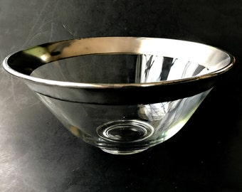 Large Mid Century Dorothy Thorpe Silver Band Bowl. Rare Flared Shape Fruit or Salad Bowl with Genuine Silver Trim.