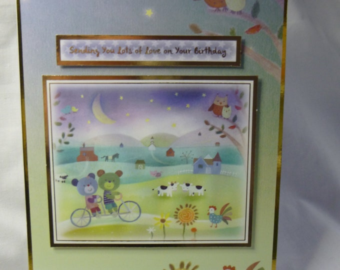 Bears on a Bike, Birthday Card, Greeting Card,  Farm Yard Animals, Boys, Son, Nephew, Any Age, Age Number can be added