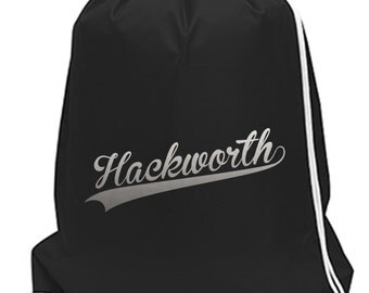 Custom Personalized Name Monogram Cinch Sack School Spirit Wear FV Spiritwear Cinch Bag Black and Silver or Choose Your Colors