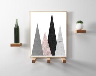 Silver and Rose Blush geometric triangle print. Modern, minimalist wall art. Scandinavian art print. Instant Download Poster in 8.5x11.